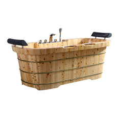 "65"" 2 Person Free Standing Cedar Bathtub, Fixtures & Headrests"