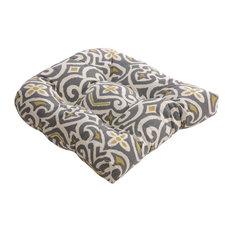 New Damask Wicker Seat Cushion, Graystone
