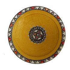 Moroccan Metal and Bone Inlay Ceramic Plate, Yellow