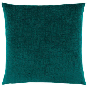 "18""x18"" Pillow, Emerald Green Mosaic Velvet, 1-Piece"