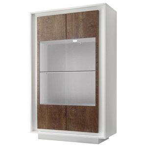 Amber III Modern Display Cabinet, Lights, White and Oak Cognac Finish