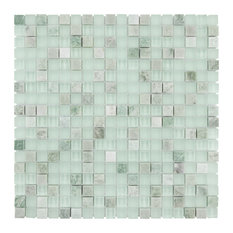 """12""""x12"""" Reflections Mini Mosaic Wall Tile, Ming, Material: Glass/Stone"""