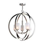 Mirage 5-Light Chandelier, Satin Nickel, Opal Cylinder Glass, LEG G9