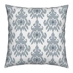 Ikat Slate Blue Gray White Tribal White Ikat Throw Pillow, Linen Cotton