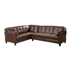 Button-Tufted Cushions Leatherette Sectional Sofa, Brown