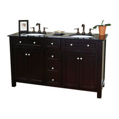 "Bellaterra 62"" Double Sink Bathroom Vanity, Solid Wood, Dark Mahogany"