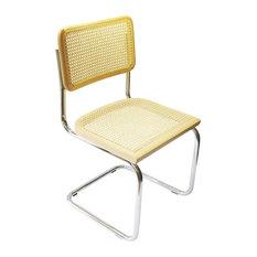Marcel Breuer Cane Chrome Side Chair, Natural