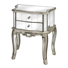 Argente Mirrored 2-Drawer Bedside Table, Silver