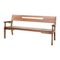 Otero Eucalyptus Wood Outdoor 3-Seat Bench