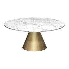 Gilmore E Oscar Round Coffee Table White Marble Br Base Small