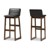 Loft Faux Leather Bar Stools, Set of 2, Black and Walnut