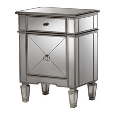 Claudia Hollywood Glamour Style Mirrored Nightstand, Silver Mirrored
