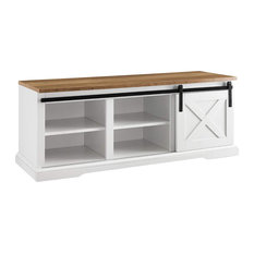 Modern Farmhouse Storage Bench, Open Shelves and Sliding Door, Two Tone