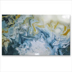 ELOISE WORLD STUDIO - Large Abstract Painting - High Gloss Resin Coated Modern Canvas Wall Art - Making a Wish - 60 x 36 x 1.5 inch