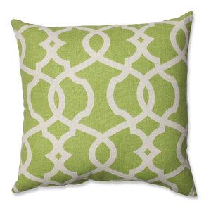 "Lattice Damask Blue 16.5"" Throw Pillow, Leaf"