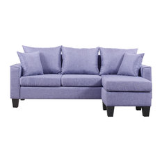 Divano Roma Furniture   Modern Linen Fabric Small Space Sectional Sofa With  Reversible Chaise, Grey