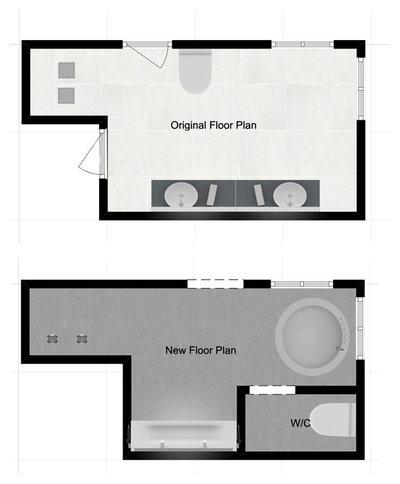 Scandinavian Floor Plan by Change Your Bathroom, Inc.