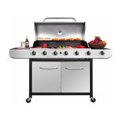 Propane Gas Grill, Stainless Steel Lid and Electronic Ignition System, 6 Burner