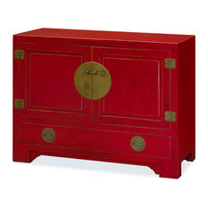 Chinese Ming Style Red Cabinet, Without Bowl or Faucet