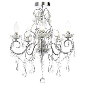 Vara 5 Light Bathroom Chandelier, Chrome