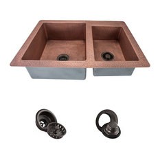 Offset Double Bowl Copper Sink, Strainer and Flange