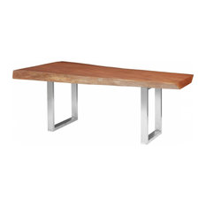 81-inchL Dining Table Live Edge Solid Mahogany Wood Brushed Stainless Steel Legs