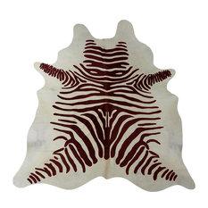 Dark Brown Zebra on White Stenciled Brazilian Cowhide