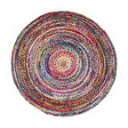 Casual Handmade Braided Cotton Area Rug, Multi, 6