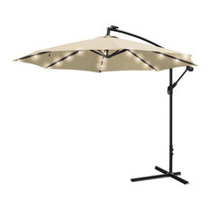 YesHom   10u0027 Roma Patio Offset Hanging Umbrella With LED Lights   Outdoor  Umbrellas