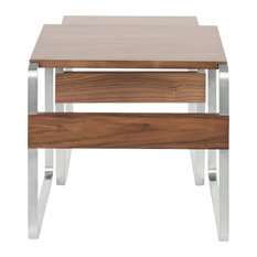 Lumisource Tea Side Nesting Tables, Stainless Steel and Walnut