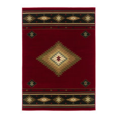 "Harrison Southwest Lodge Red and Green Rug, 7'8""x10'10"""