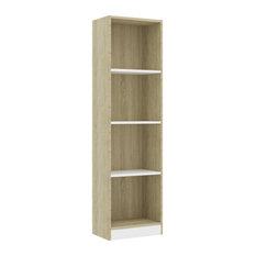 VidaXL 4-Tier Book Cabinet Minimalist White Sonoma Oak 55.9-inch Chipboard Cabinet