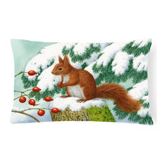 Winter Red Squirrel Fabric Decorative Pillow
