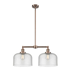 Large Bell 2-Light LED Chandelier, Antique Copper, Glass: Seedy