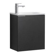 "Valencia Wall Hung Bathroom Vanity, Black, 20"""