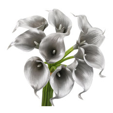 10 Piece Calla Lily Set, Metallic Silver