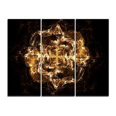 """Fractal Yellow Flower Explosion"" Digital Wall Art, 3 Panels, 36""x28"""