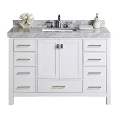 "54"" Malibu White Bathroom Vanity With White Marble Top and Undermount Sink"