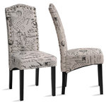 Bayland Collection - Dining Script Fabric Accent Chair With Solid Wood Legs, Set of 2 - Color: Script
