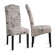 Dining Script Fabric Accent Chair With Solid Wood Legs Set Of 2
