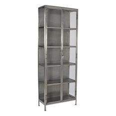 DOVETAIL GOODMAN Display Cabinet Antique Nickel Glass Iron 4 -Shelf
