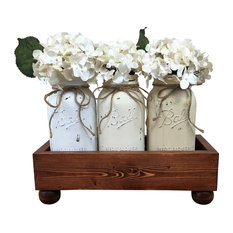 Half Gallon Mason Jars in Footed Box With Removable Lid Centerpiece, 5 Piece Set