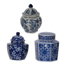 Leith Blue and White 3-Piece Decorative Jars Set