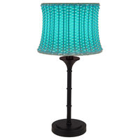 """River of Goods 15063 Basketweave Single Light 25-1/4"""" High Buffet Table Lamp wi"""
