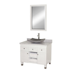 "Premiere 36"" Bathroom Vanity, White, White Marble Top, Black Granite Sink"