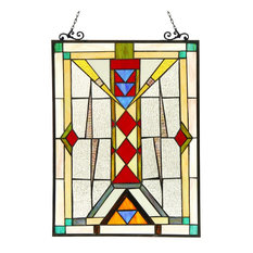 WARREN, Tiffany-glass Window Panel, 17.5x25
