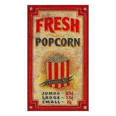 """Popcorn Vintage Wooden Sign, 20""""x32"""""""