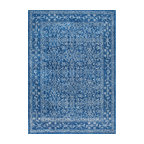 Traditional Medieval Floral Rug , Dark Blue, 8