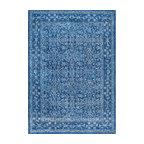 Traditional Medieval Floral Rug , Dark Blue, 8
