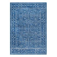 "Traditional Medieval Floral Rug , Dark Blue, 5'x7'5"""